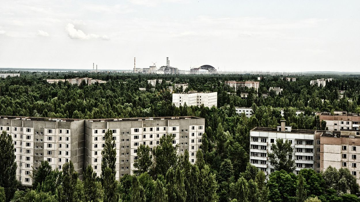 Afbeelding van Rookontwikkeling door brand bij Tsjernobyl